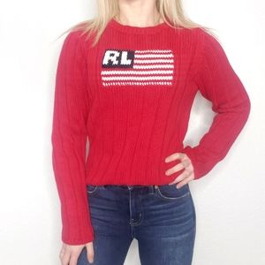 Ralph Lauren Vintage Red Ribbed Knit Flag Sweater